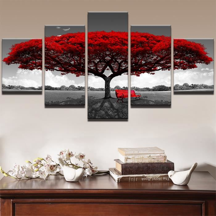 5 panneau imprim rouge arbre art paysage tableau modulaire peinture toile pour chambre - Dipinti camera da letto ...