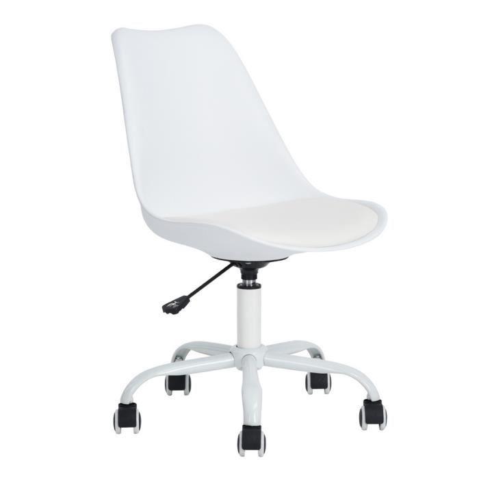 Fauteuil De Bureau Fauteuil à Roulettes Chaise De Bureau Chic Blanc