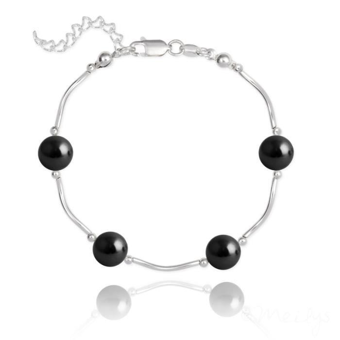 Bracelet en Argent 4 Perles de Cristal Nacré - Noir Mystique Swarovski®