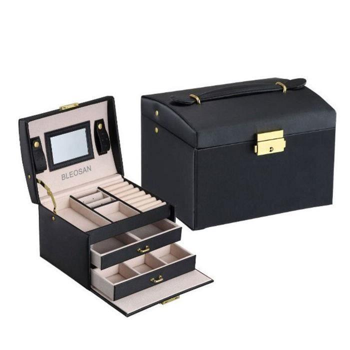 Boite à Bijoux Coffret à Bijoux Boite à Maquillage Femme Avec Miroir Pour  Rangement Bijoux 3 Plateaux 2 Tiroirs Noir