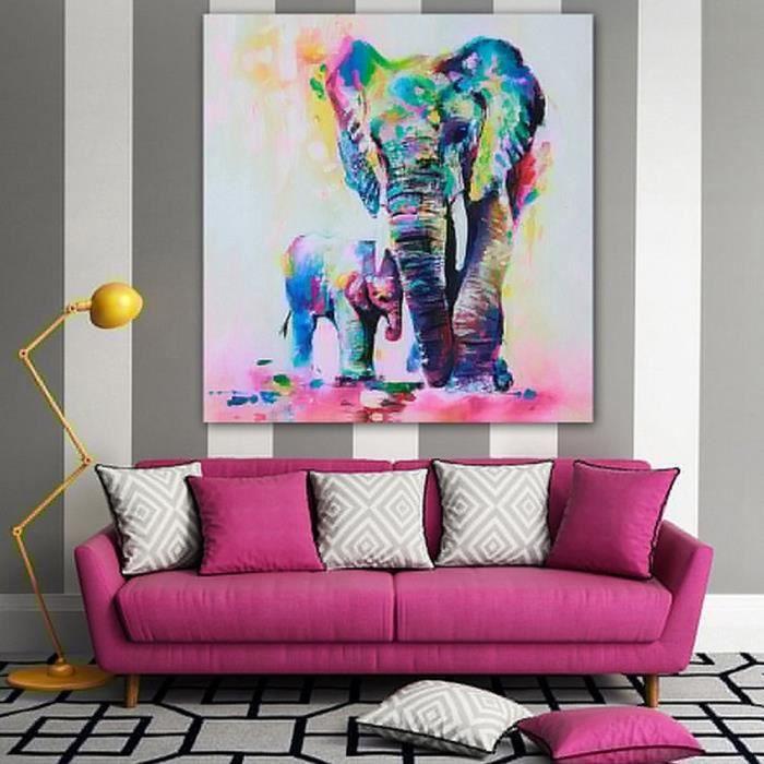 Baqi Tableau Peinture Imprimé Hd Multi Couleur Éléphant Toile