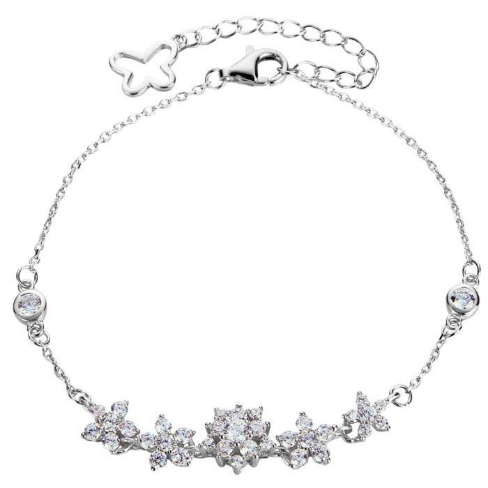 Ever Faith-Sentir Fleuri-Bracelet Chaîne Argent 925 Cubic Zirconia Sertie Griffes Papillon Fleurs Transparent Plaqué Argent N07254-1