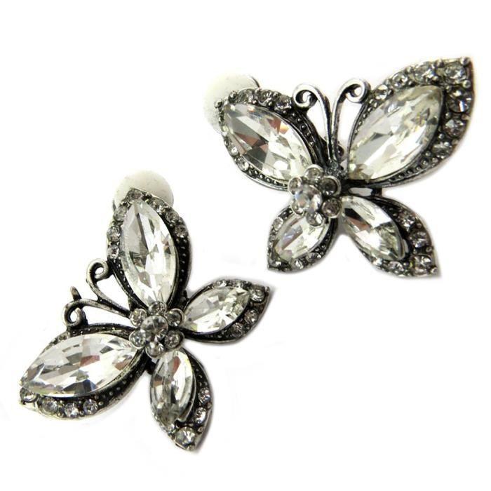 Clips Créateur Sissi blanc argenté (papillons) -35x35 mm [P4648]