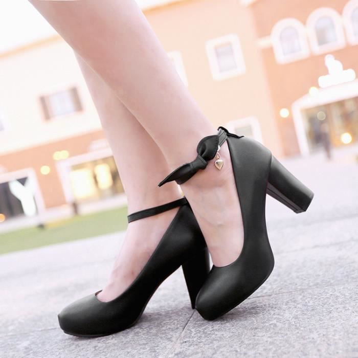 talons hauts-Pure Color High Heel Heel Thick Wo...