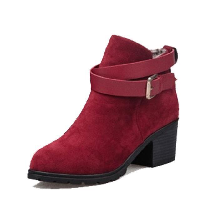 SIMPVALE Femme Fille Boots de Imitatif en Talon Carré Epaiss
