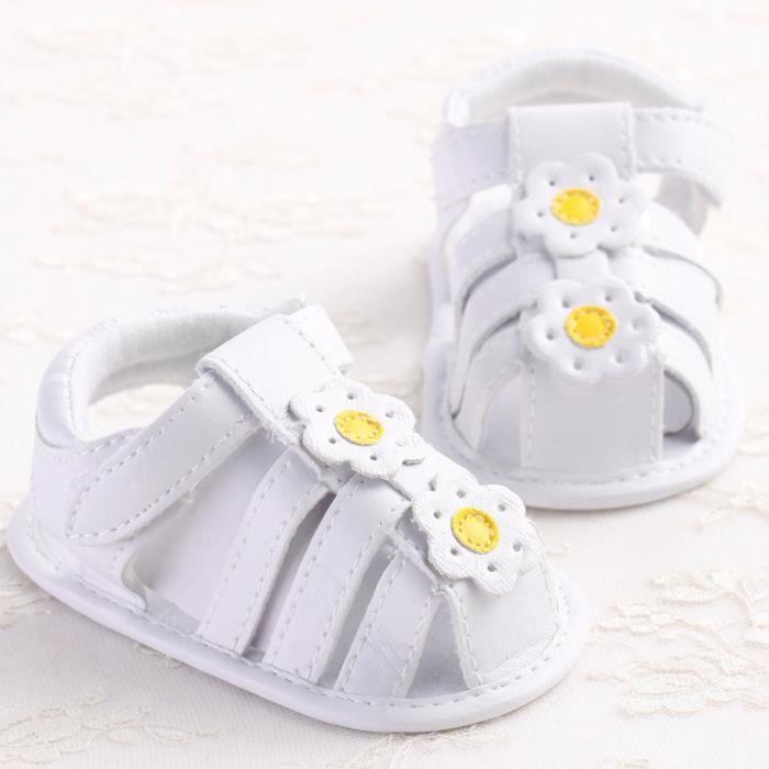 Frankmall®Bambins fille berceau chaussures fleur douce semelle anti-dérapant bébé Rayures Sneakers#WQQ0926143 22BX9