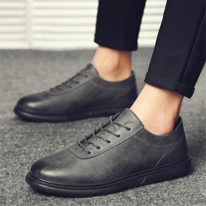 Derbies Homme Couleur Unie Cuir Chaussures 2018 Qualité Supérieure Chaussures Confortable Beau Nouvelle arrivee 40-44 H854vHJS