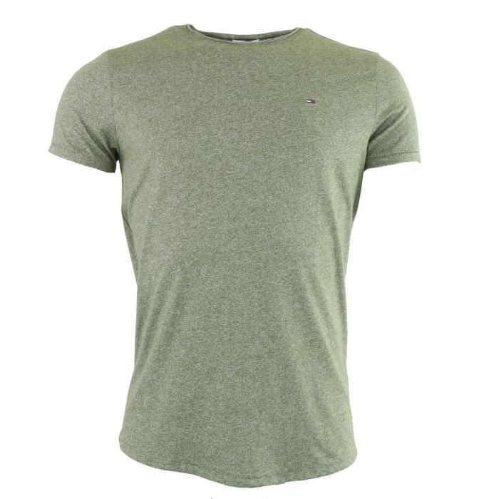 Tommy Hilfiger Denim T-shirt kaki manche courte col rond Slim fit (Kaki -  L) Homme 66136dbb75e8