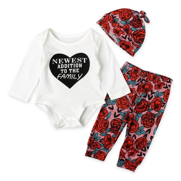 870d8d2877ecd ... Nouveau-né   Body + Pantalon + Bonnet. Ensemble de vêtements 0-24 Mois Bébé  Fille Pyjama à Fleurs ...
