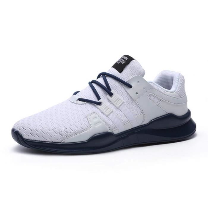 aea445106bb89 Chaussures de Sport Homme Multisports Comp eacute tition Trail  Entra icirc nement Course Running Baskets blanc