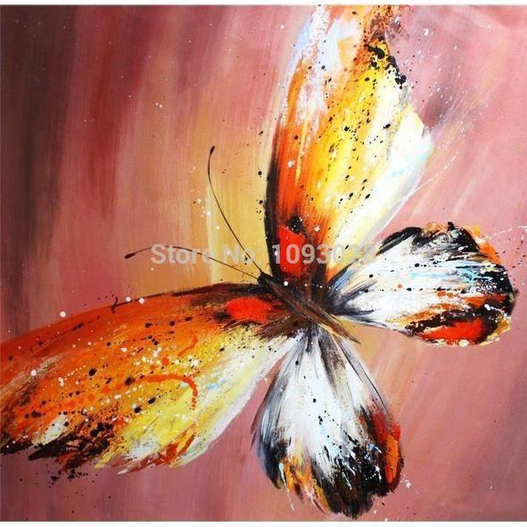 Pipihua Main Peinture  LHuile De Toile Vente Chaude Papillon D