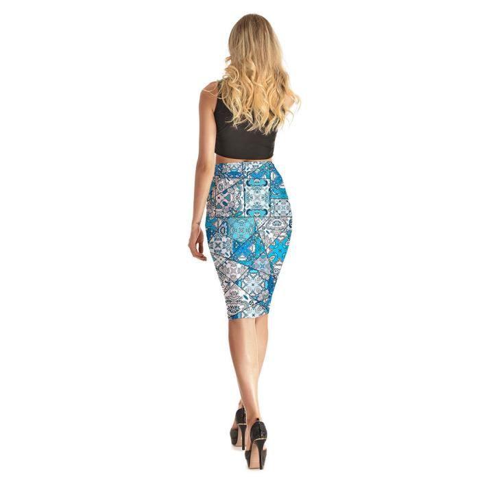 Fleurie Au Imprimée Élégante Plissée Wowa® Genou Femme Elastique Plissé Jupe Pour Basique Casual Patineuse Mode wA1gf8