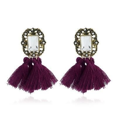 Bijoux mode 2018646 boucle doreille 2017 femmes fille strass cristal mode glands de laine noir