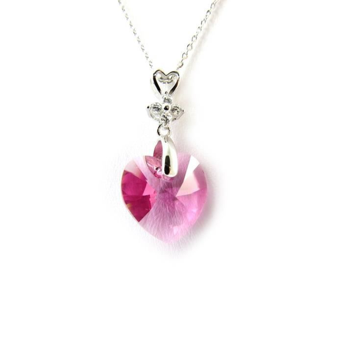 Lily-Crystal [N3548] - Collier Argent Love(Crystal)