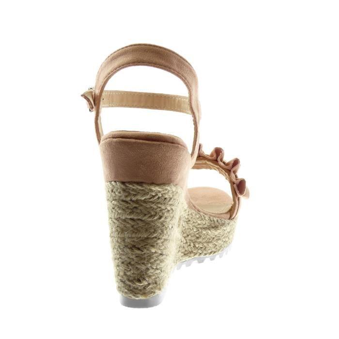Espadrille plateforme Angkorly volants Mode semelle lanière tréssé cheville compensé femme à corde basket Chaussure Talon Sandale qaanwfH