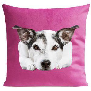 COUSSIN ARTPILO - Coussin DOGGY Coton déperlant - Rose fus