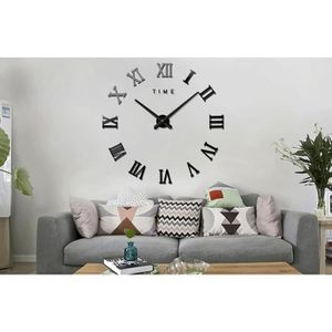 HORLOGE - PENDULE Version Noir - 3d Grand Horloge Murale Chiffres Ro