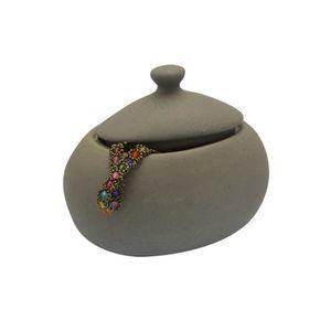 POT DE CHAMBRE FRANDIS Pot à coton en céramique gris cailloux