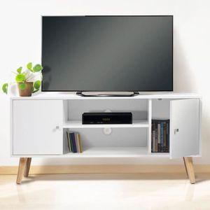 MEUBLE TV Meuble TV EFFIE scandinave bois blanc