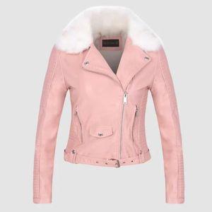 60d2cd3a0ca56f Veste Femme en cuir PU chaud slim sit Col en fourrure courte mode Rose