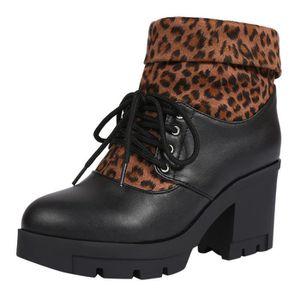 BOTTE Femmes talon haut Martin Bottes Leopard à lacets c