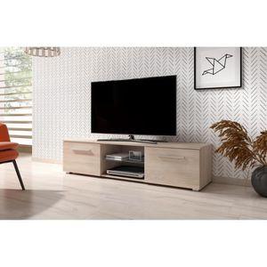 MEUBLE TV Moon Meuble TV Design coloris sonoma. Eclairage à