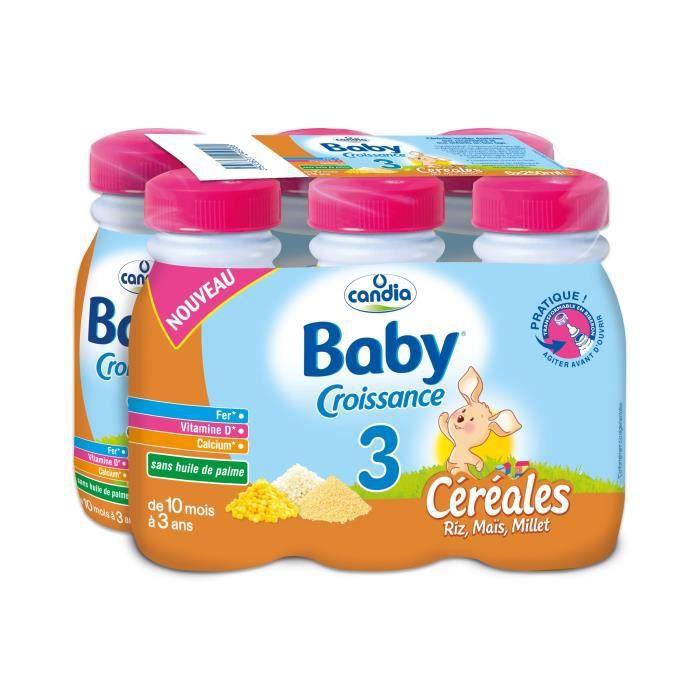 CANDIA Baby Croissance Lait 3ème âge Céréales riz maïs millet - 6x25 cl - De 10 mois à 3 ans