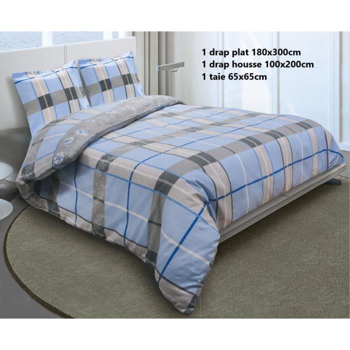 - Garniture de lit 1 personnes 100%Coton