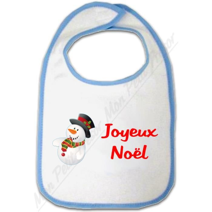 51545dc35b96a Bavoir Bébé garçon Bonhomme de Neige Joyeux Noël - Achat   Vente ...