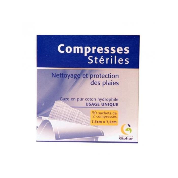 TROUSSE DE SECOURS Giphar Compresses stériles 7.5cm x  7.5cm  x  50 s