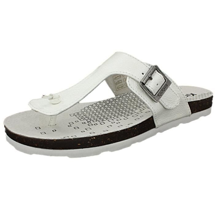 Tong Kickers Ditik blanc, chaussures femme