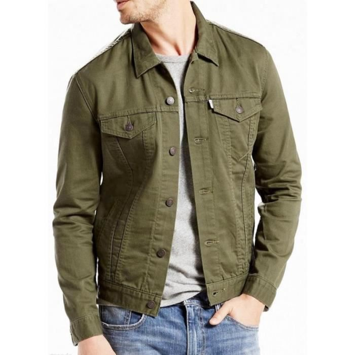 veste en jeans levi 39 s trucker kaki vert vert achat vente veste cdiscount. Black Bedroom Furniture Sets. Home Design Ideas