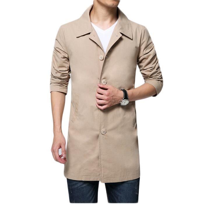 02dd2f6b60da0 Manteau longue homme a la mode uni de revers Vêtement Masculin Vert ...