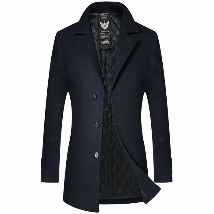 Parka Standup Épaississant Col Manteau Homme violet Slim vert noir Laine Mode En De Bleu Mélangée Masculin Hiver rouge Vêtement Longue w0rvzw