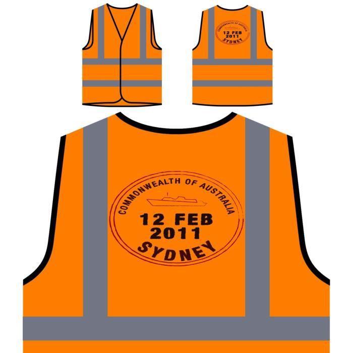 Australia Sydney cadeau Protection Visibilité Personnalisée À Haute De Orange Vintage Per Stamp Veste zn0OwvqFx