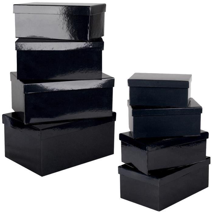 Lot Set De 8 Boites De Rangement Gigogne Imprimé Uni Noir Design ...