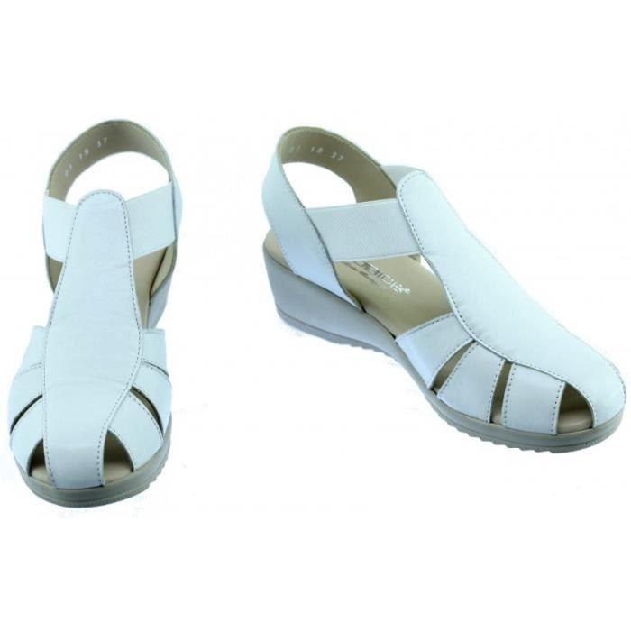 TRAIN - Sandale confortable arrière fermé souple et flexible chaussure pour Femme pieds sensible marque Aérobics cuir blanc