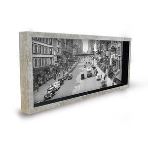 Tableau déco cadre vitrine 20x50 - Ville retro noir et blanc