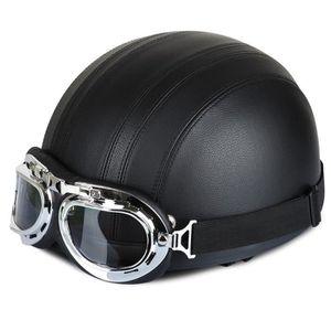 CASQUE MOTO SCOOTER Casques Moto Femmes Hommes Cuir 54-60cm Réglable a