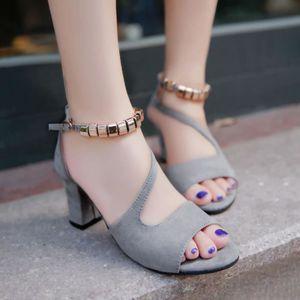ESCARPIN Femmes Solid Color Peep Toe boucle carrée Sandales