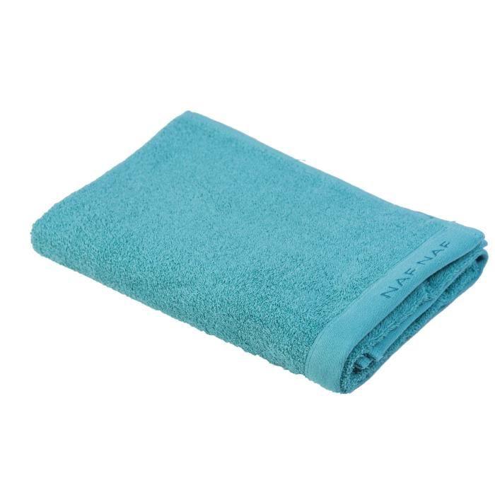 NAF NAF Drap de bain 100% coton Casual - 70x140 cm - Bleu aigue-marine