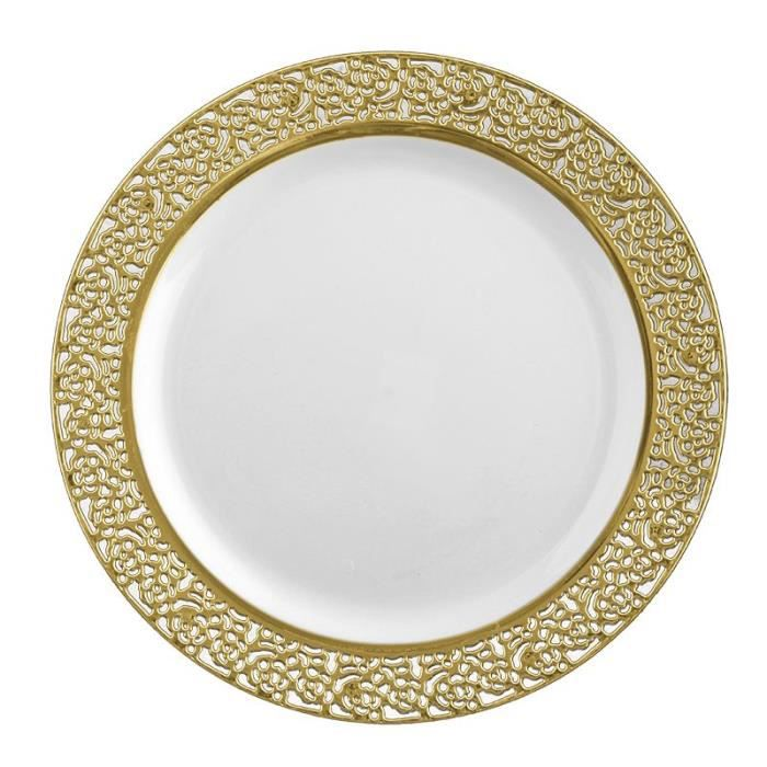 ASSIETTE JETABLE 10 ASSIETTES LUXE OR 26 CM  Or