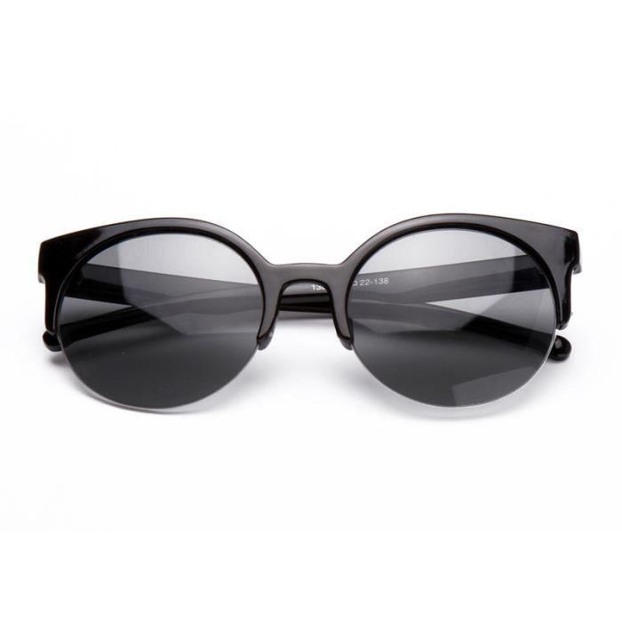 Deuxsuns®Élégant Cat Eye lunettes de soleil femmes Lunettes Semi-Rimless lunettes de soleil noir@zf630