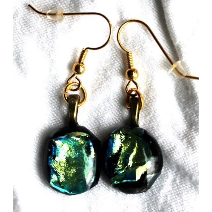 Womens Dichroic Glass Earrings On Gold Tone Hypo-allergenic Wires At 5-8 Inch EFMQI