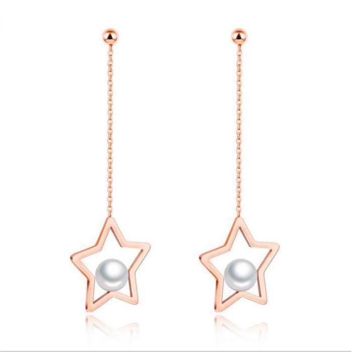 Boucle nouvelle mode imitation perle boucles doreilles pour les femmes étoiles de baisse conception or rose couleur acier inoxydabl