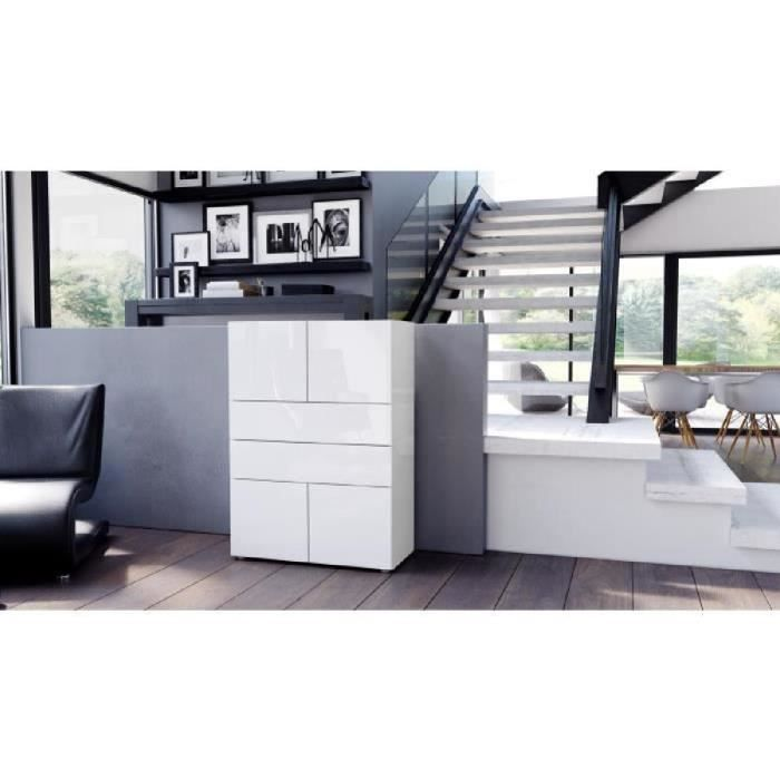 Commode buffet massa v2 en blanc haute brillance blanc haute brillance ac - Commode haute blanche ...