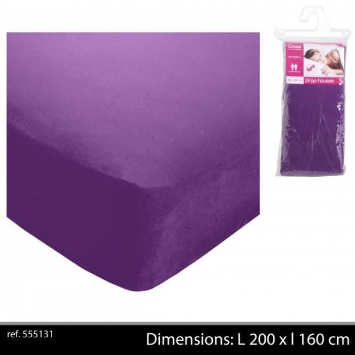 drap housse 160 x 200 cm polyester aubergine drap housse uni mauve lit 2 pers achat vente. Black Bedroom Furniture Sets. Home Design Ideas