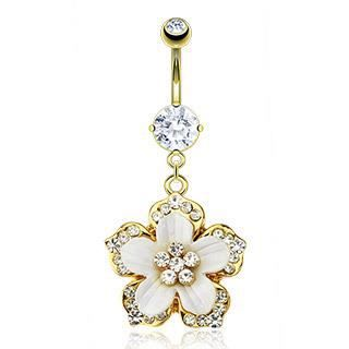 piercing nombril or fleur strass blanc cristal blanc jaune dor achat vente piercing. Black Bedroom Furniture Sets. Home Design Ideas