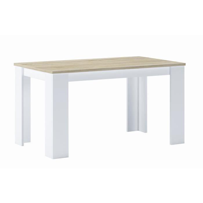 Table à Manger 140 Cm, Chêne Clair Et Blanc, Mesures : 80 L X 138 Longueur  75 Cm Hauteur