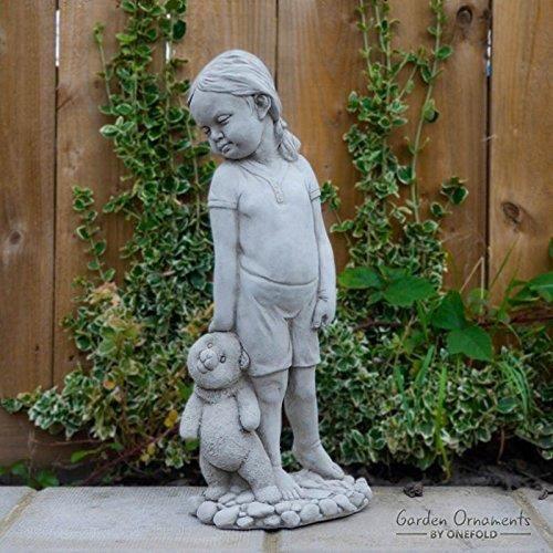 STATUE - STATUETTE   Statue Fille avec peluche - Décoration de Jardin